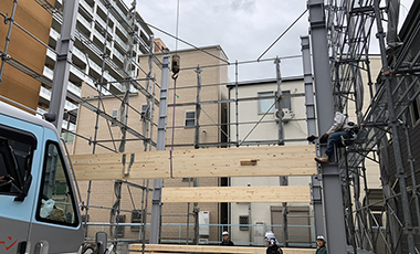 【進行中の現場】大阪市城東区 T様邸 WSハイブリッド工法 建て方