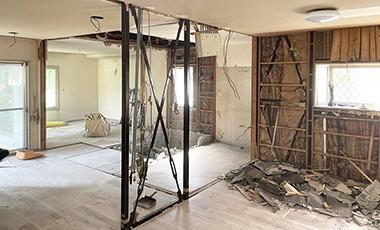 【進行中の現場】戸建てリフォーム 大阪府池田市 U様邸 一階部分を大幅にリフォーム